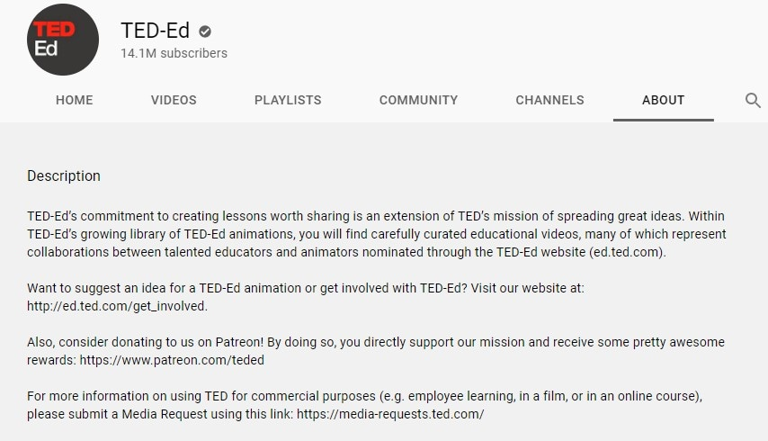 youtube channel description ted