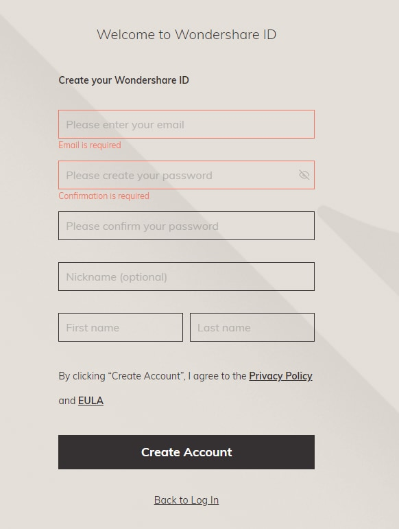 fill blank to create account