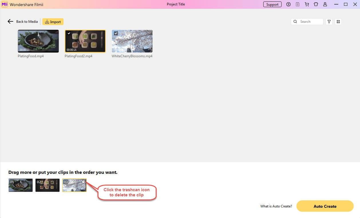 click trashcan icon