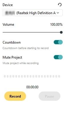 recording setting