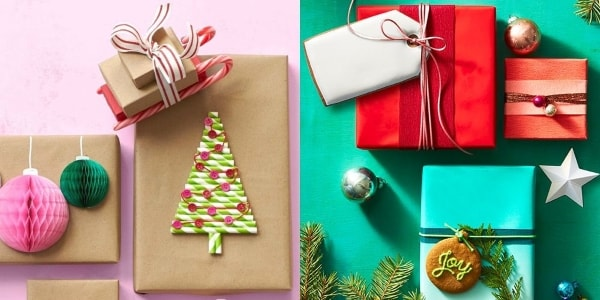 gift wrappings in christmas design