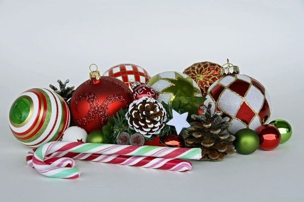 candy cane and pine cones