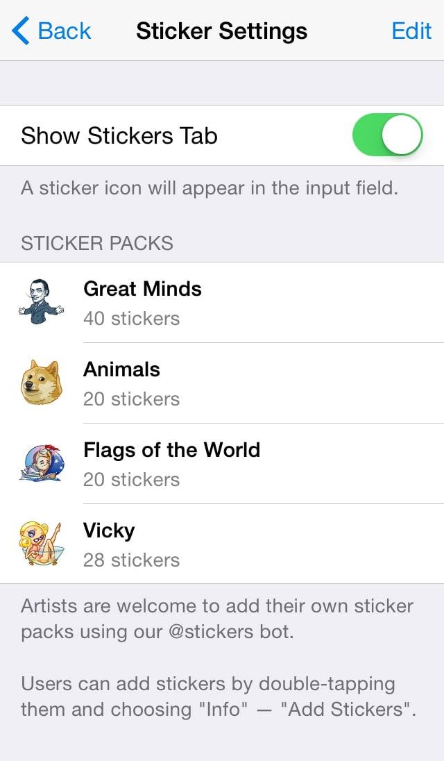 sticker settings