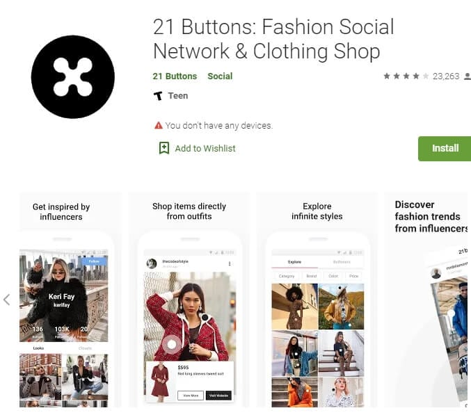 21 Buttons: Fashion Social Network & Clothing Shop