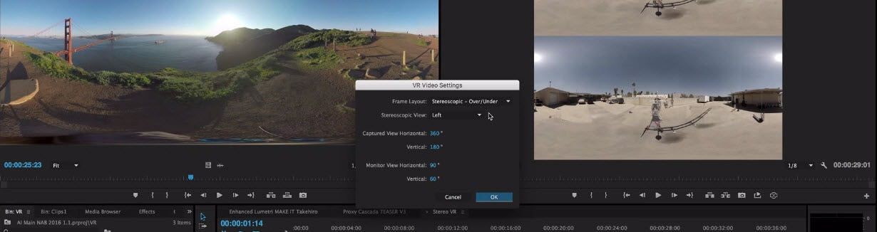 Edit 360 videos with Premiere Pro - Settings