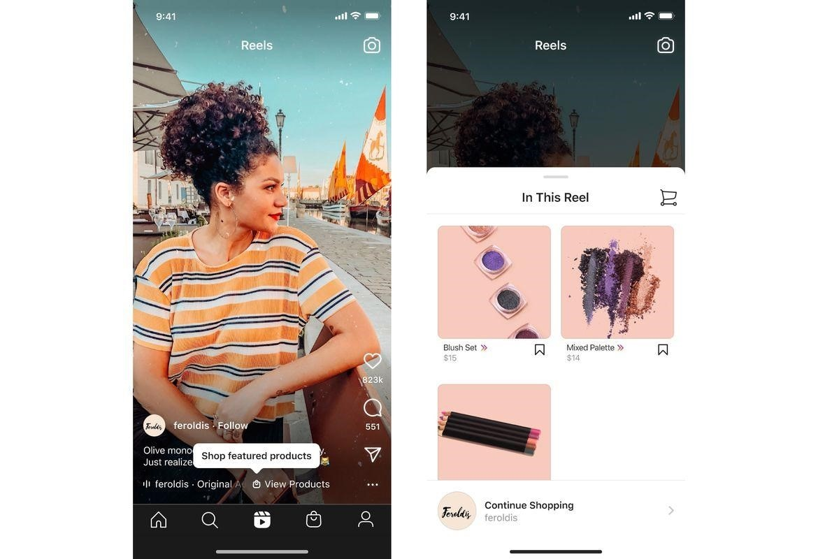 instagram reels shopping feature