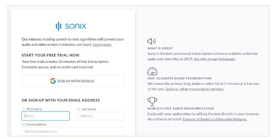sign up sonix