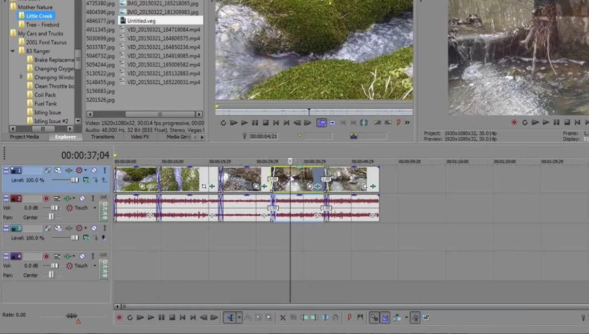 source video in preview panel