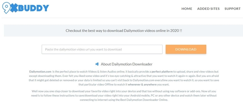 9xBuddy DailyMotion Downloader and Converter