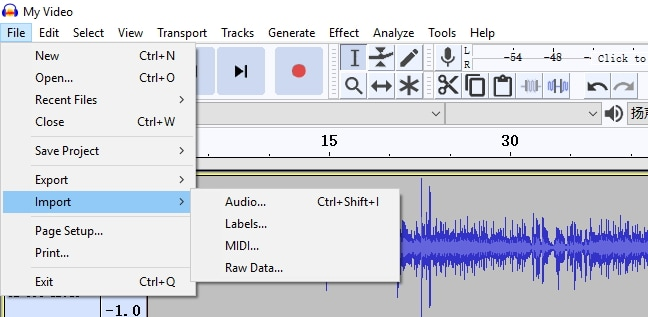 Audacity add audio