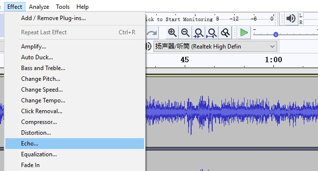 Audacity add echo