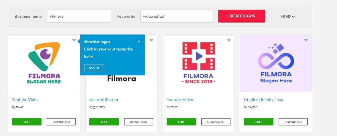 BrandCrowd logo maker interface