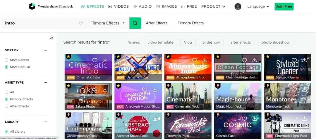 Filmstock Intro Effect for Filmora9