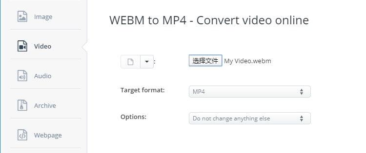 Convert WebM video to MP4 with Aconvert