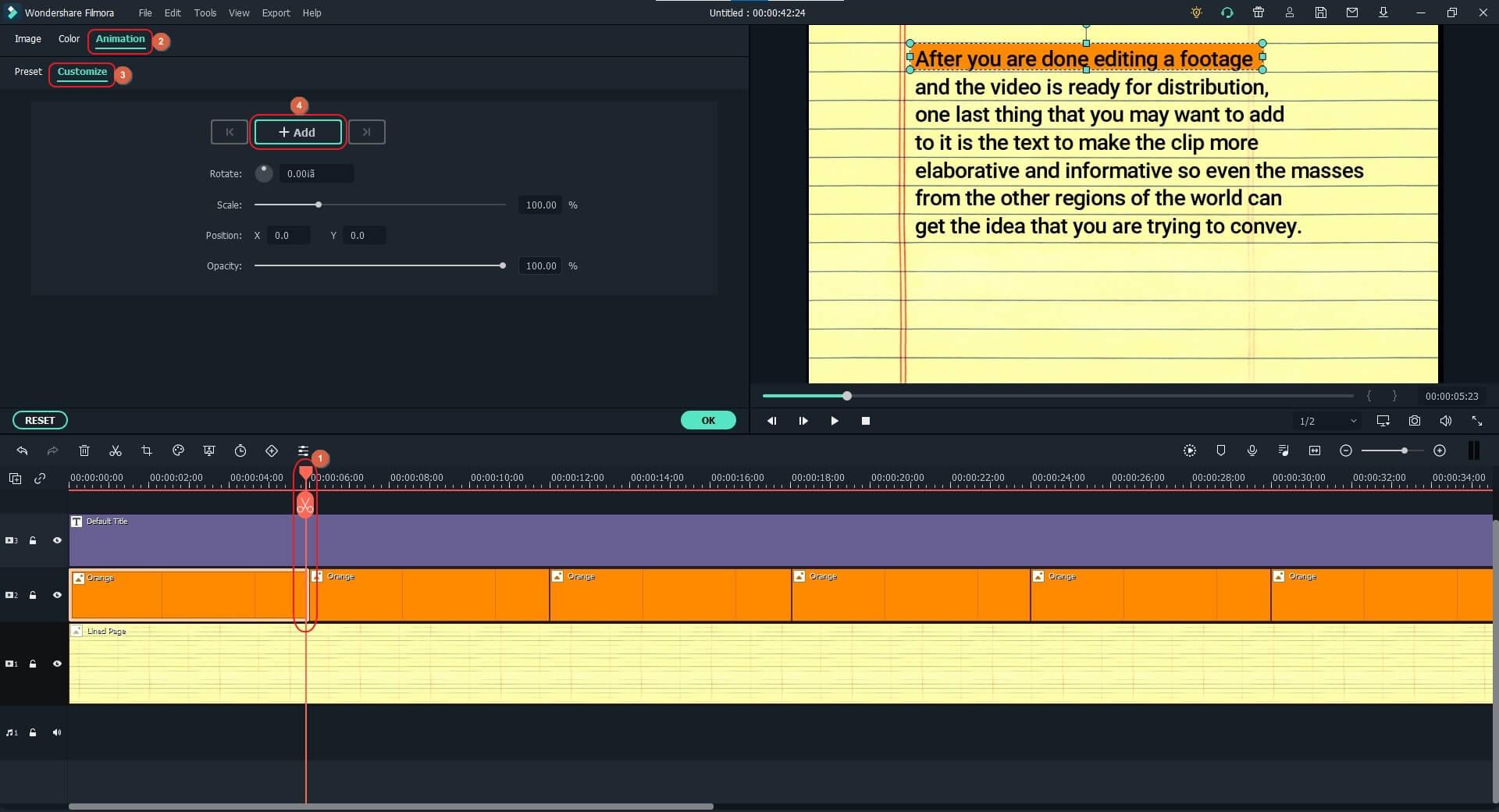 add keyframing animation to highlight texts