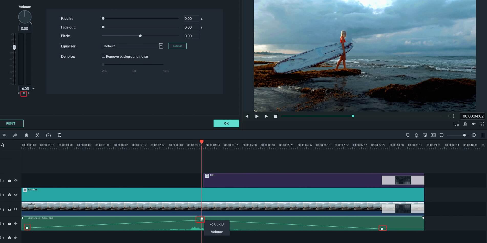 Filmora9 Add Audio Keyframe