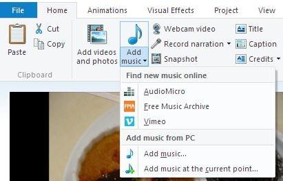 add audio windows movie maker