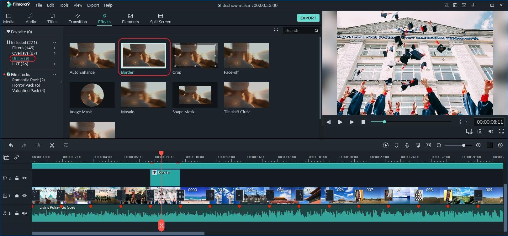 Faça um vídeo de graduação com o Filmora9 - adicionar quadro