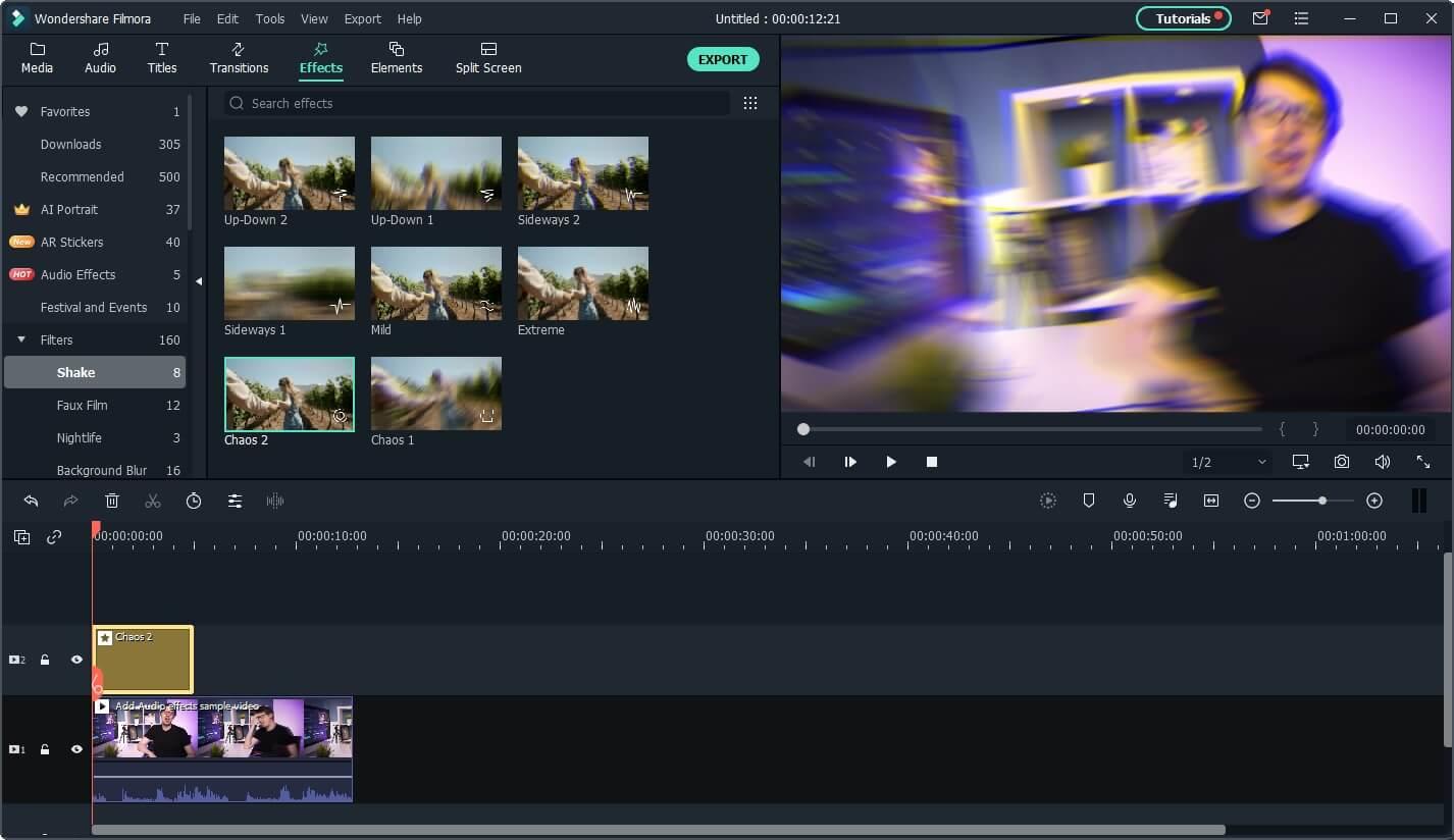 add camera shake effect to video