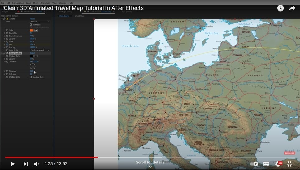 Create map animation in AE - add drop shadow