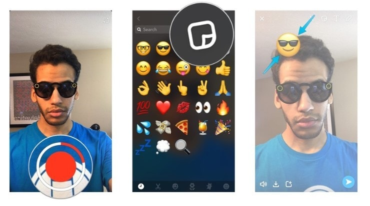 how to add emojis in snapchat videos