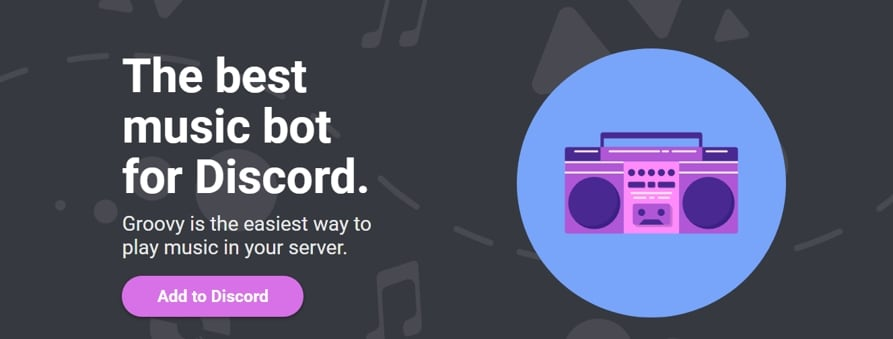 Add Groovy bot to Discord Server