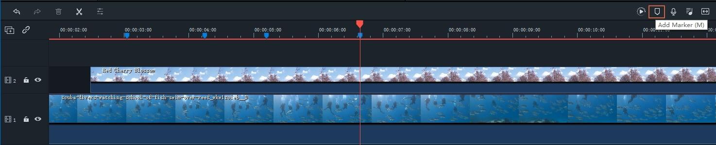 Add Markers Filmora9 Track