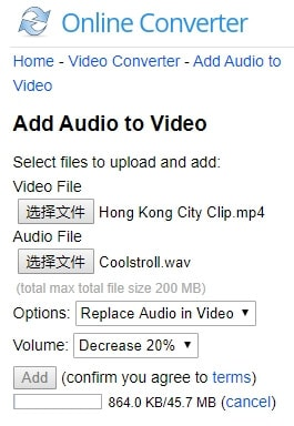 merge audio to video with Online Converter