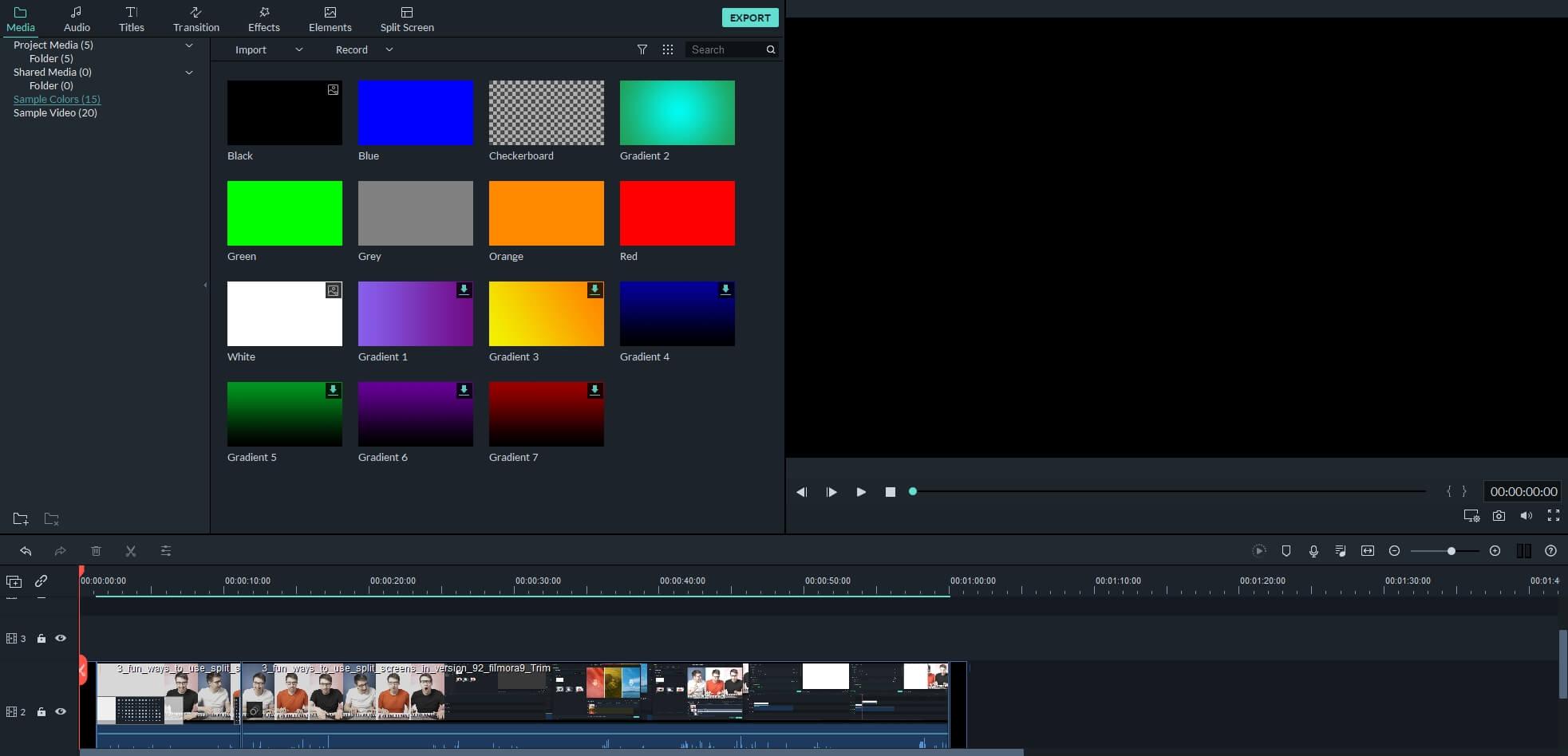 Aggiungi schermo nero a colori al video in Filmora9