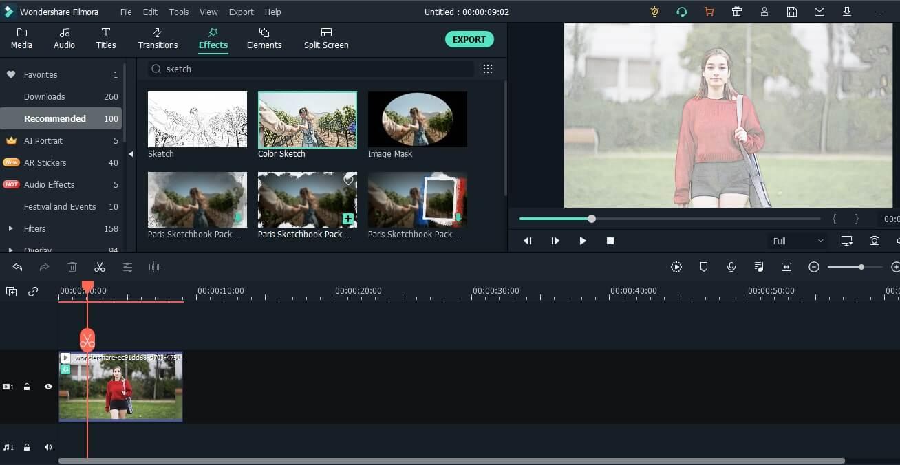 add sketch filter to video in Filmora