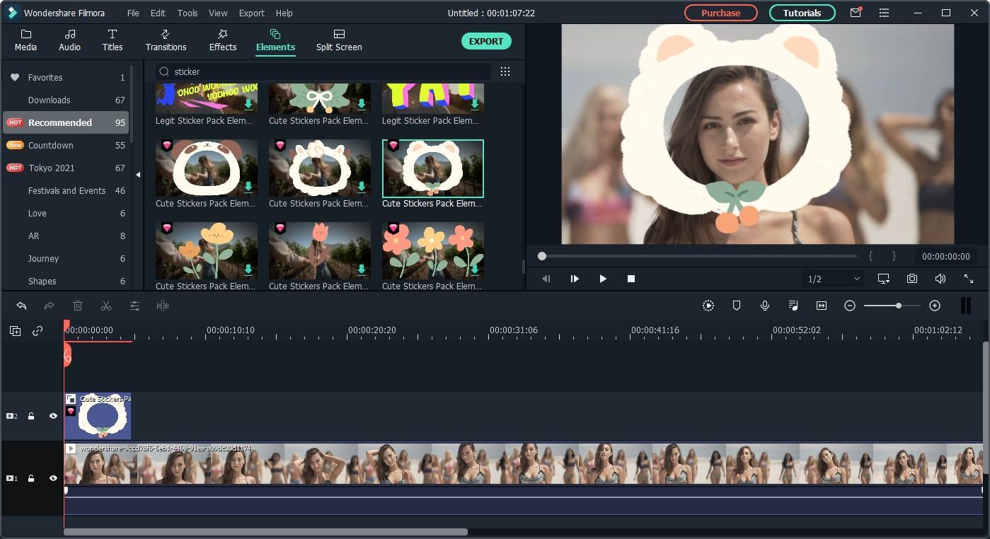 add sticker elements  to video in Filmora