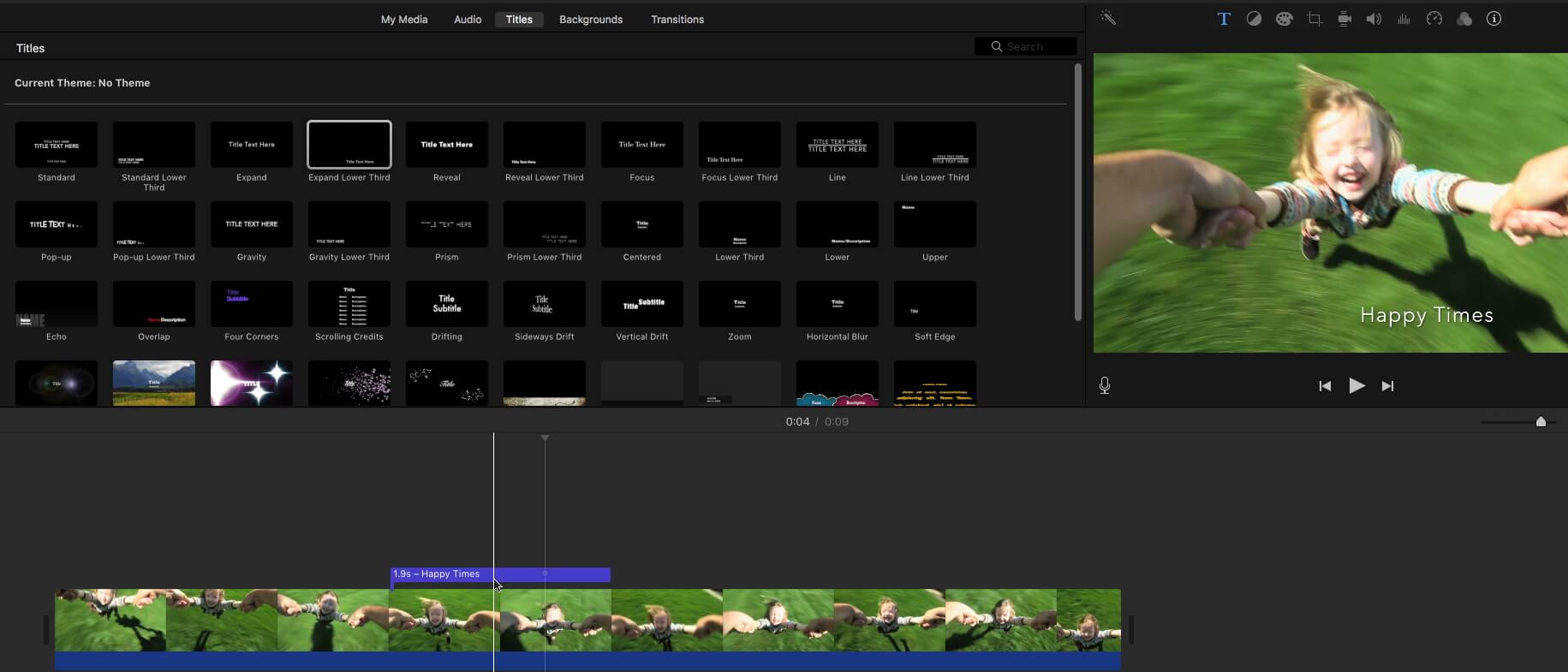 iMovie video editing