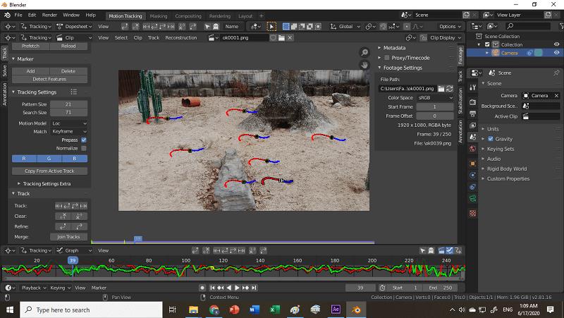 tracking marker für kamera tracking in blender 2.8 hinzufügen