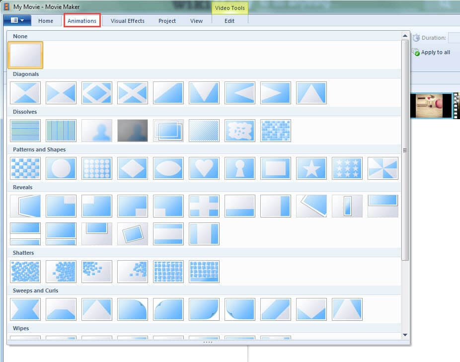 Add transitions in Windows Movie Maker