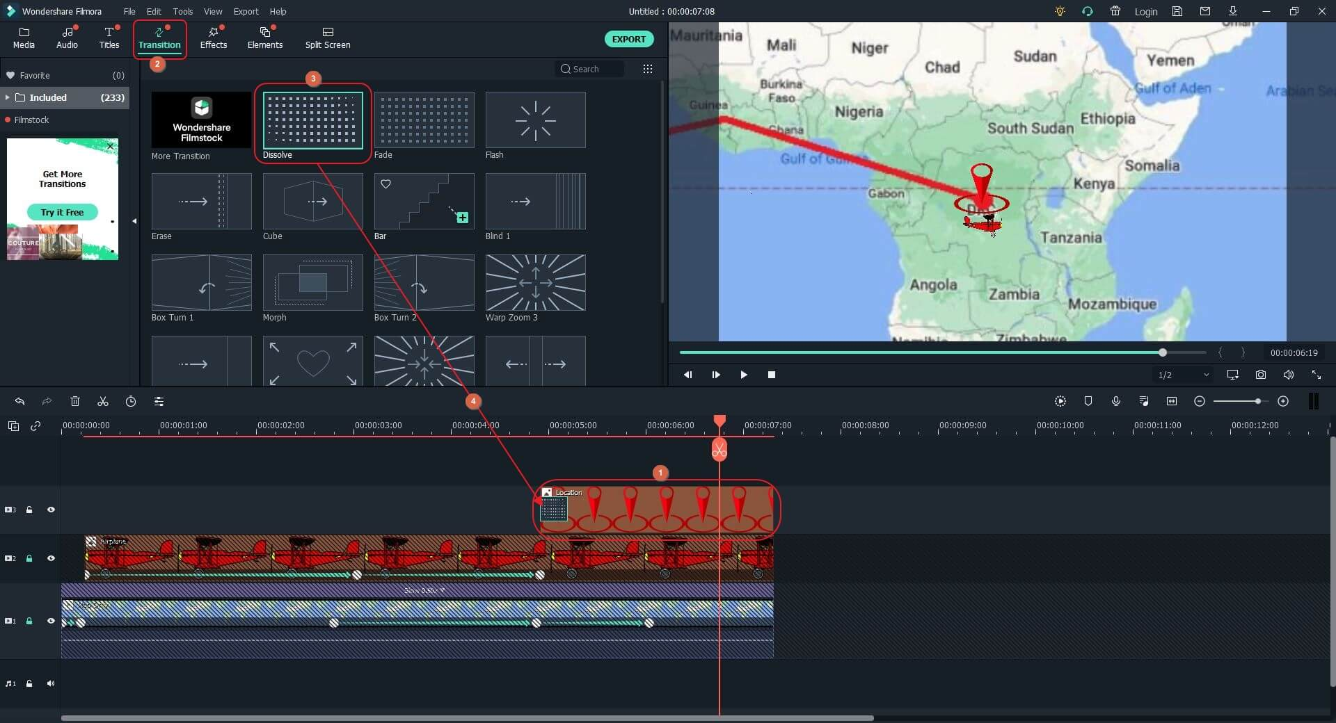 add transitions  to animated travel map in Filmora X