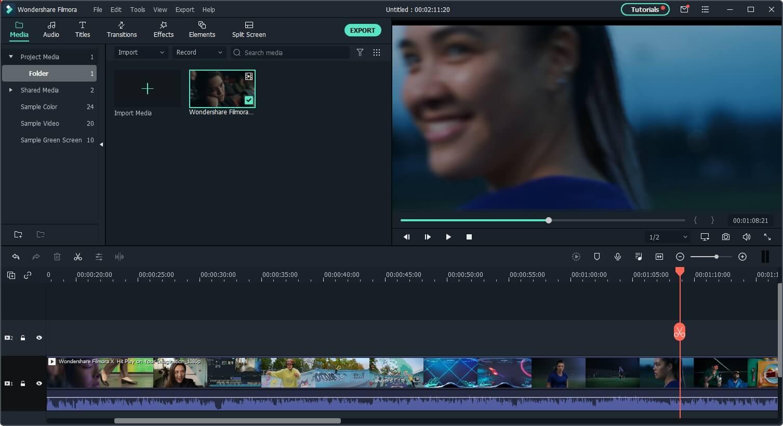 Add video to Filmora timeline