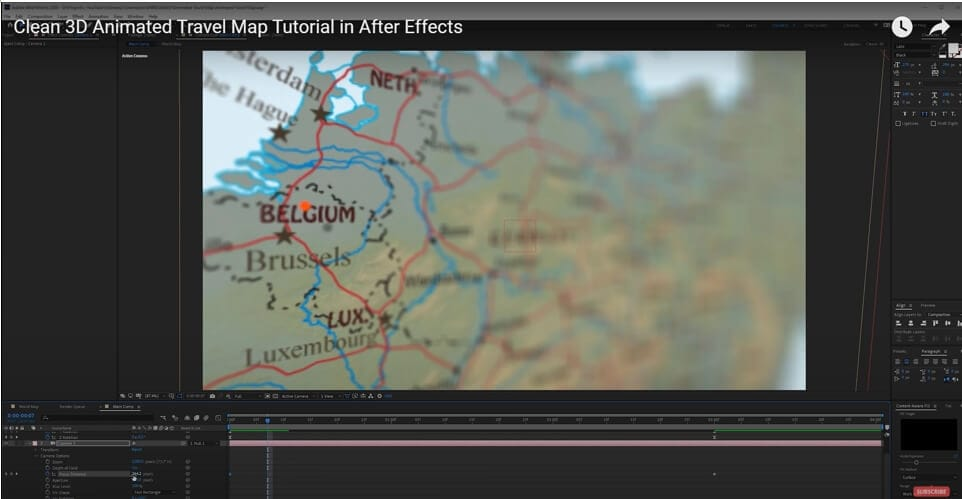 Create map animation in AE - add depth of field