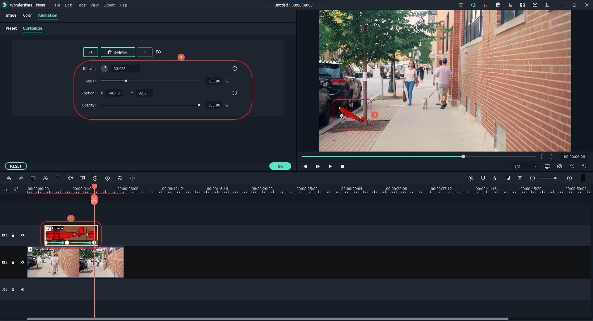 adjust keyframing animation