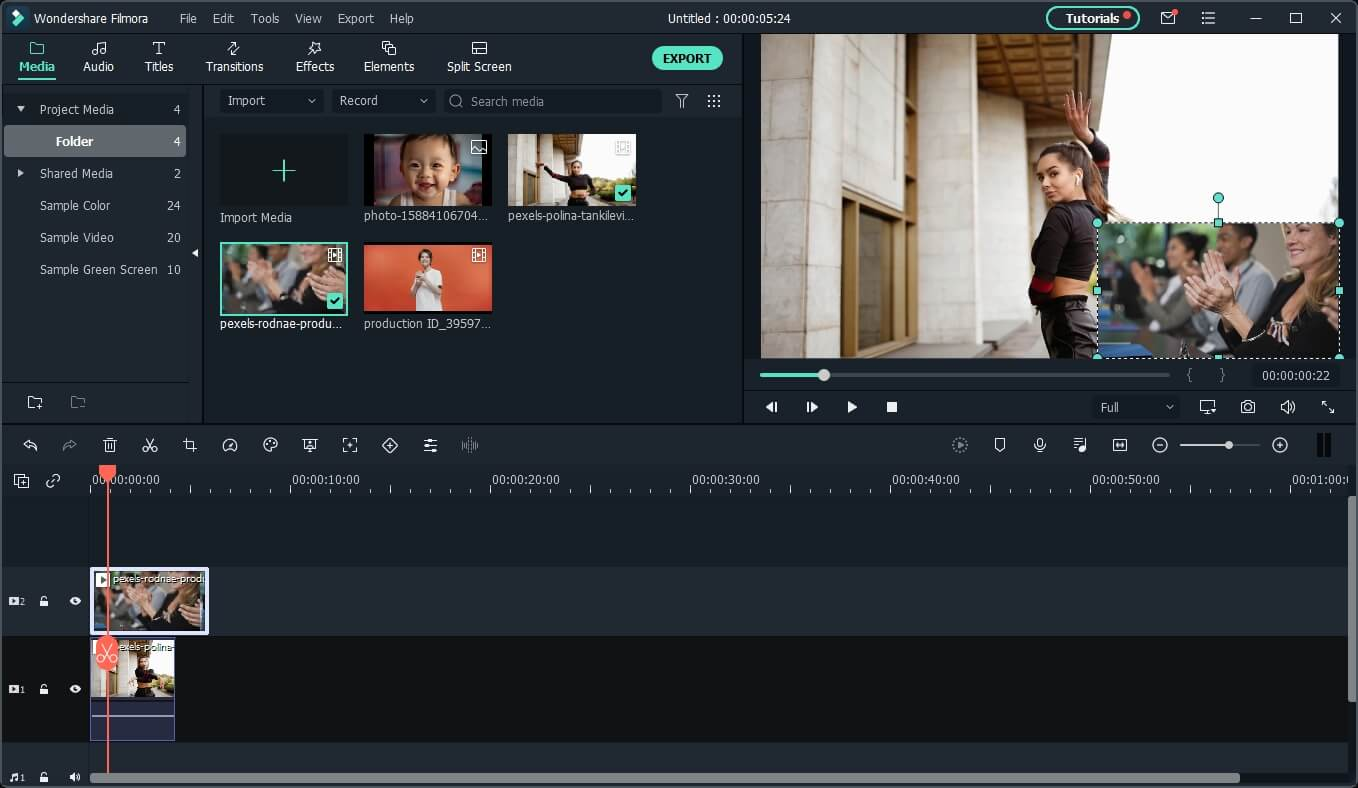 Create reaction video with Filmora Picture in Picture feature