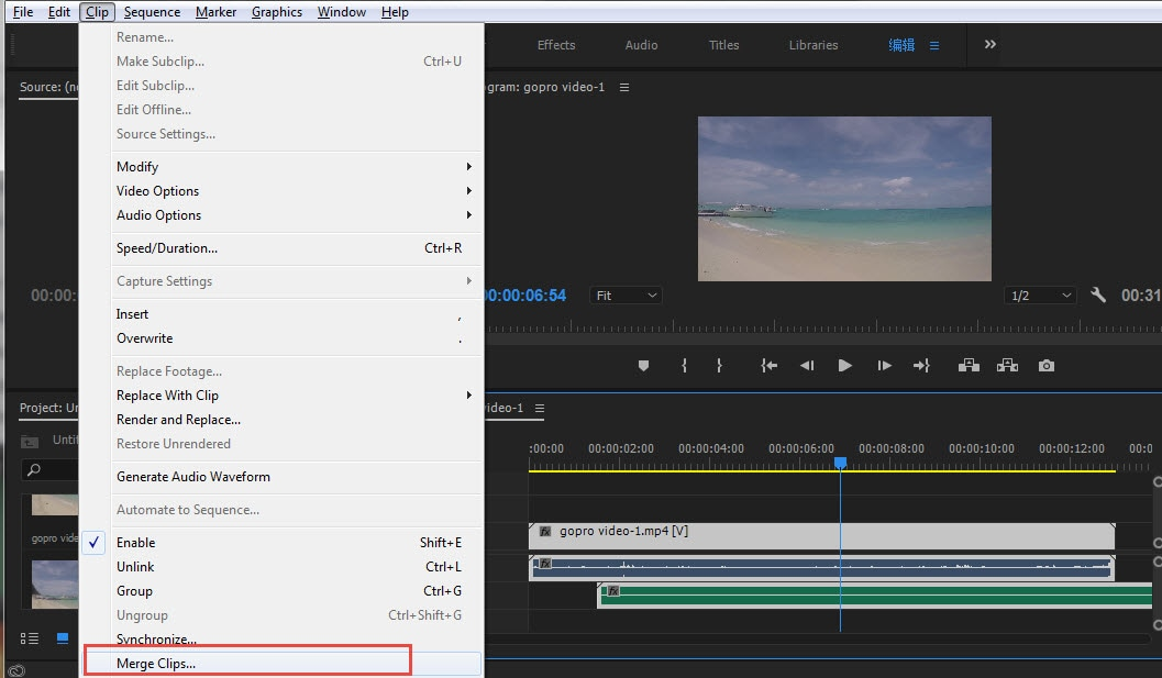 How to merge/combine clips in Adobe Premiere Pro