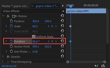 How to rotateflip a video in adobe premiere from here you can move scale and rotate the video as required using the given options ccuart Images