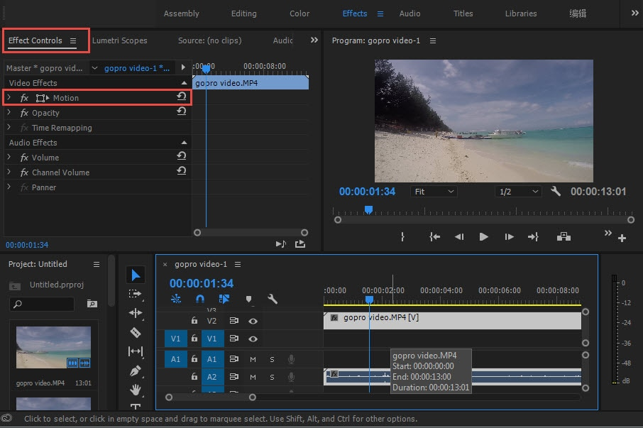 How to rotateflip a video in adobe premiere from here you can move scale and rotate the video as required using the given options ccuart Choice Image