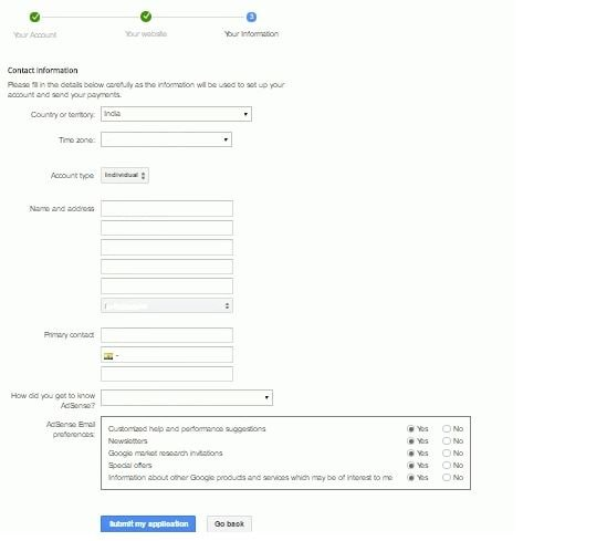 adsense fill form