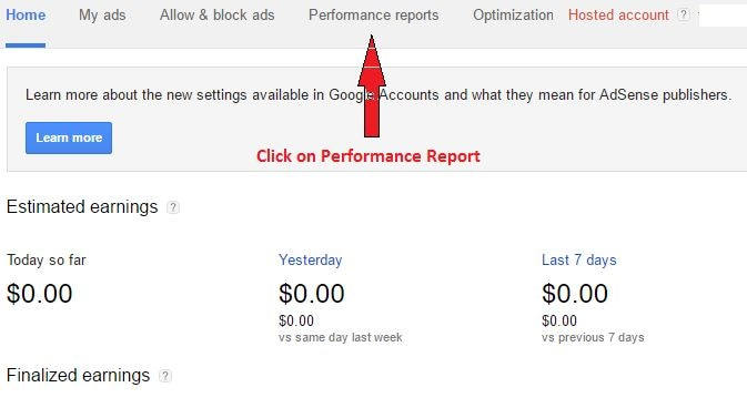 adsense performance report