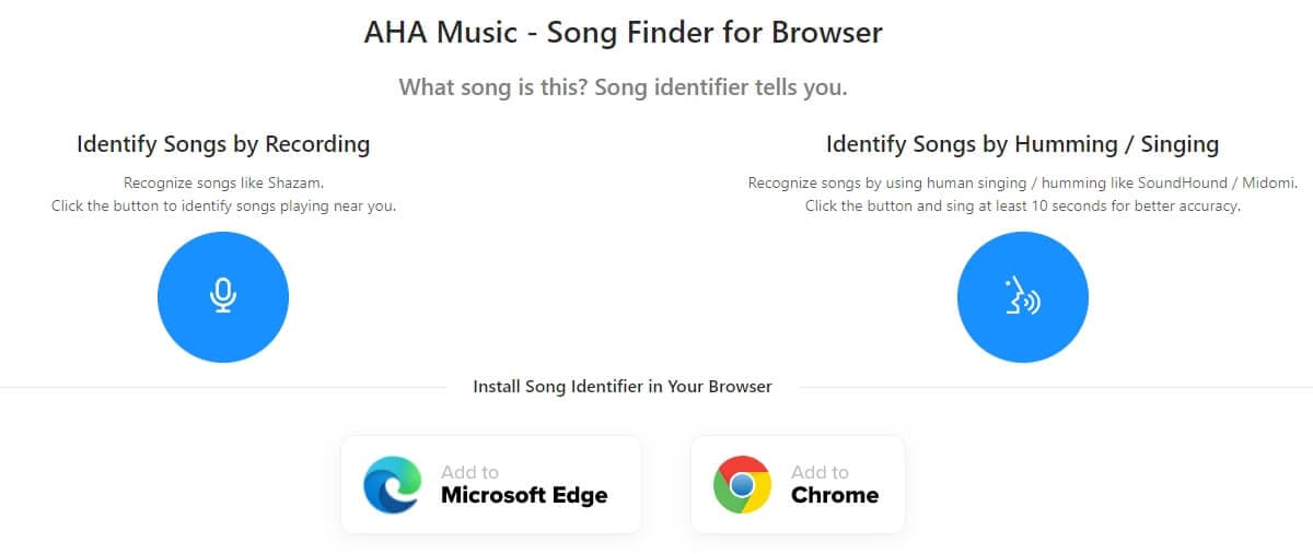 AHA Music - Song Finder for Browser