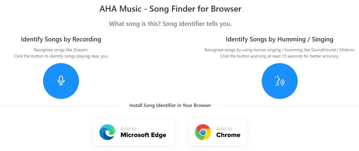 AHA Music - Song Finder pour le navigateur