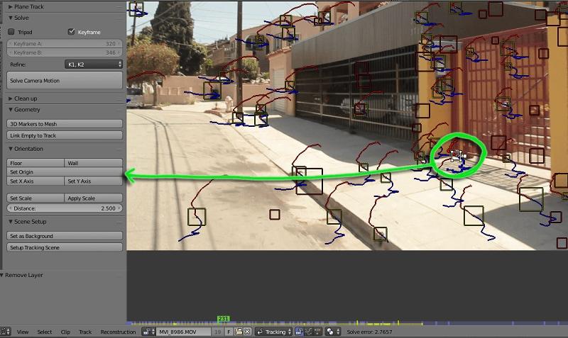Ausrichten der Kamera in aufgelöster Bewegung verfolgt Szene Kamera Verfolgung in Blender 2.8