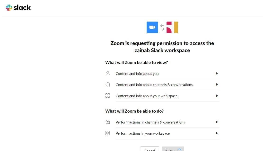 Allow Zoom On Slack
