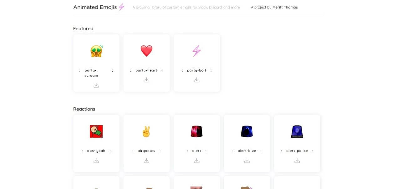 Animated Emojis Website