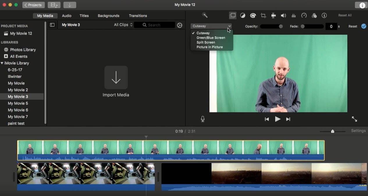 apply green screen effect in imovie